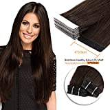 20inch , 2# : Neitsi 20pcs/pack 100% Tape in Human Hair Weft Extension Straight Glue Hair Weft (20inch, 2#)