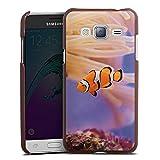 DeinDesign Samsung Galaxy J3 Duos 2016 Lederhülle braun Leder Case Leder Handyhülle Anemonenfisch Clownfisch Nemo Fisch
