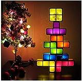 Lampe de table empilable Tetris, lampe à LED Puzzles de Tangram, lampe de bureau emboîtable à induction 3D, lampe de jouet amusant pour enfants et décoration, aide à l'enseignement STEAM