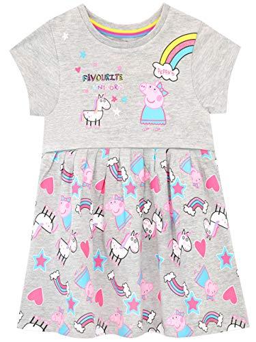 Peppa Pig Vestido para Niñas Unicornios y Arco Iris Multicolor 5-6 Años