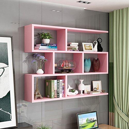 LUYIASI- Regal-Wand-Kabinett-moderner einfacher Bücherschrank-kreatives Wein-Gestell Shelf (Farbe : Pink)