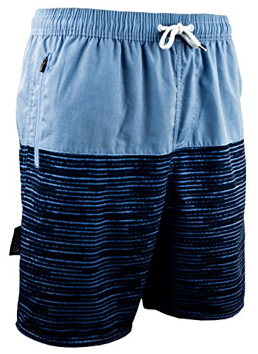 GUGGEN Mountain Herren Badeshorts Beachshorts Boardshorts Badehose Schwimmhose Männer mit Muster Schwarz Blau M