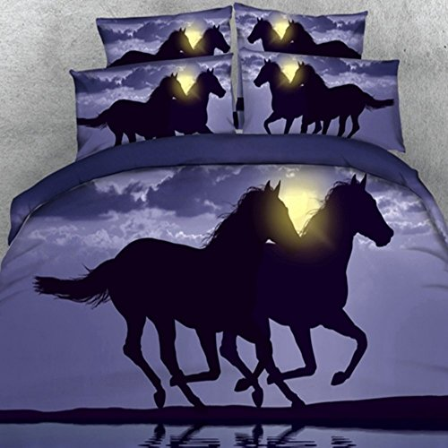 wäsche Pferd Digital beddingrunning Pferd Home Textil 4-Teilig Baumwolle Bettbezug Set, Twin/Full/Queen/King US Größe, schwarz, Queen ()