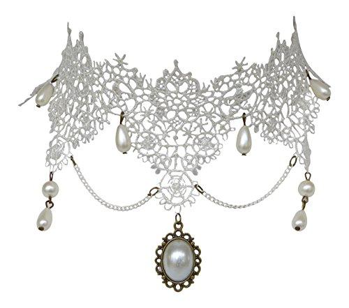 Trachtenschmuck Burlesque Kropfband Collier mit Perlchen, Zierkettchen und Anhängern - Spitze Weiß