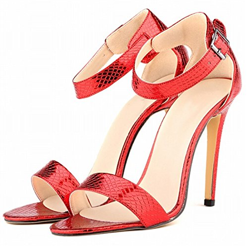 Oasap Damen Krokodil Offen Knöchelriemen Stiletto High Heels Golden