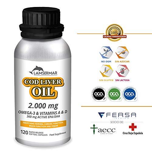 LAMSERMAR – Aceite de Hígado de Bacalao. 2000mg de Omega 3 con Vitaminas A & D para ayudar a controlar...