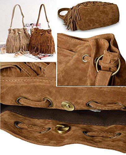 Minetom Fashion Fransen Damentasche Lady Hot Fringe Tassel Faux Suede Shoulder Messenger Umhängetasche Handtasche Taschen Schultertasche Braun
