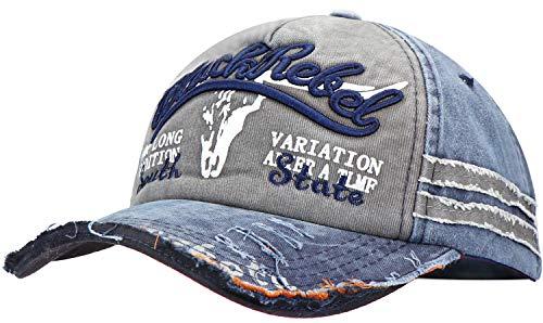 Wilhelm Sell® Vintage Baseballcap - grau und blau - Einheitsgröße - Größe: anpassbar von 50cm bis 60cm Kopfumfang (01 Stück - Rebel)