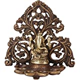 Kartique Brass Diya for Puja Room Fine Ganesha Wall Hanging Table Ganesh Murti with 6 Gift Home Decor Copper Finish Antique Style