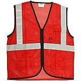 Club 21 Reflective Jacket | High Quality Polyester Reflective jacket | Reflective Strips | High Visibility | Safety Reflective Jacket | Size : Medium ( Red )