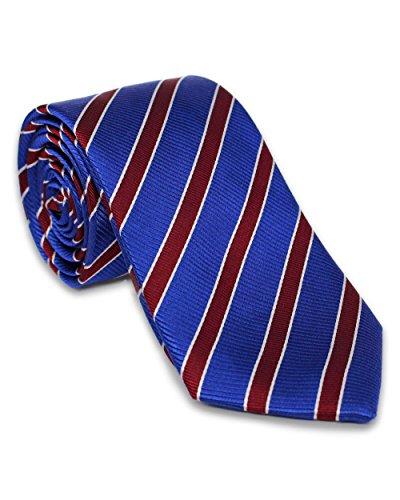 Krawatte aus 100% Seide | Bordeaux Rot Blau Streifen | Handgefertigt in Italien | Für Hochzeit | Seidenkrawatte gestreift für Business Anzug oder Hemd (- Herren Repp-stripe)