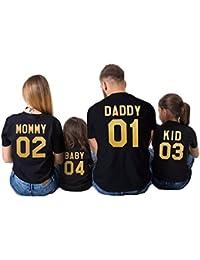Juleya Ropa a Juego con la Familia Mommy Daddy Baby Impresión para mamá papá niños bebés Camiseta