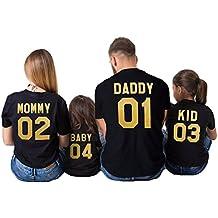 Juleya Ropa a Juego con la Familia Mommy Daddy Baby Impresión para mamá papá niños bebés