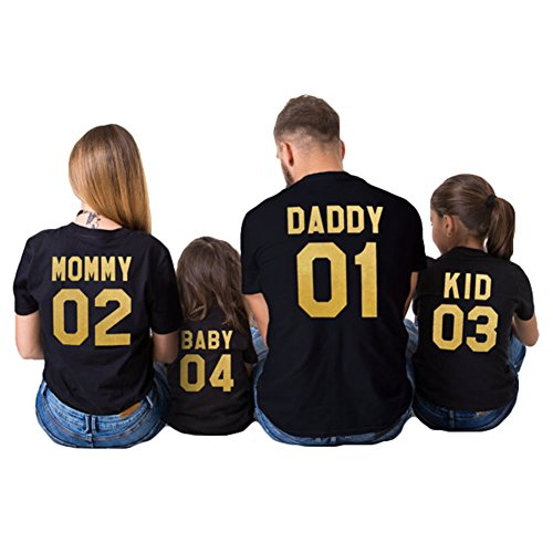 Juleya Ropa a juego con la familia MOMMY DADDY BABY Impresión para mamá papá niños bebés camiseta Daddy XL