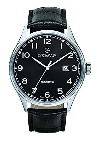 GROVANA - 1190.2537 - Montre Homme - Automatique - Analogique - Bracelet Cuir Noir