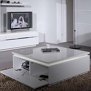 Sciae 11SG2920 Moderne Table Basse avec 2 Abattants Panneau de Particules Blanc 90 x 90 x 35 cm