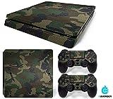 PlayStation 4 Slim Designfolie Sticker Skin Set für Konsole + 2 Controller – Camouflage