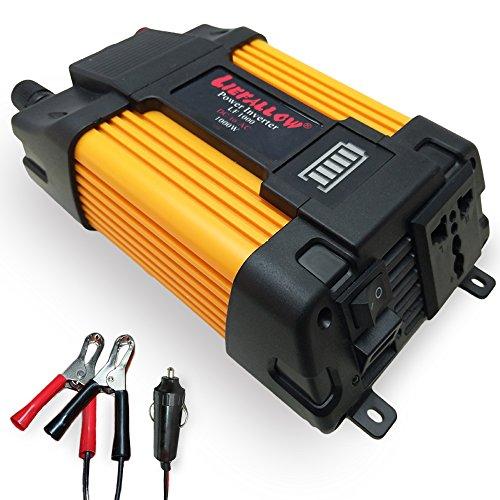Liefallow Convertisseur 1000W convertisseur de voiture Transformateur de tension DC 12 V vers AC 220 V avec adaptateur allume cigare en voiture et pince crocodile pour batterie
