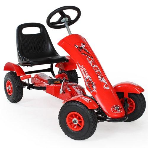 TecTake 401032 Kinder Go-Kart im Racing Design - diverse Farben - (Rot)