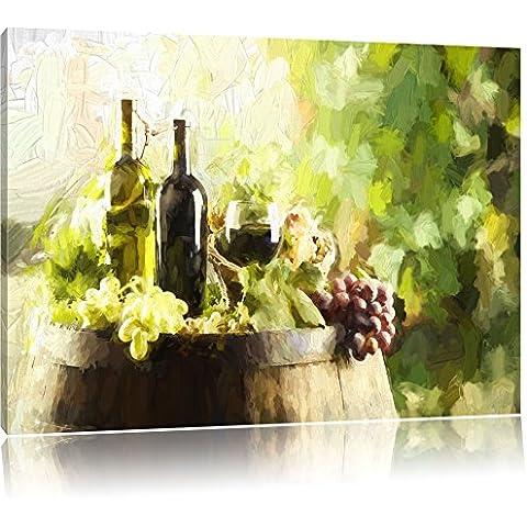 Vino con uve su effetto pennello barile, formato: 120x80 su tela, XXL enormi immagini completamente Pagina con la barella, stampa d