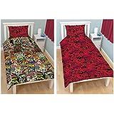 Marvel Comics - Juego de funda de edredón y funda de almohada (reversible, cama individual), diseño de superhéroes