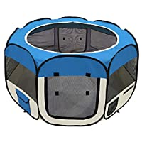 """afuLaI 45"""" Pet Portable Foldable Playpen Exercise Kennel for Dogs Cats Indoor/Outdoor (Dogplaypen-Blue45in)"""