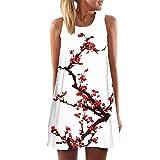 Elecenty Damen Ärmellos Sommerkleid Minikleid Strandkleid Partykleid Rundhals Rock Mädchen Blumen Drucken Kleider Frauen Mode Kleid Kurz Hemdkleid Blusekleid Kleidung (2XL, Rot 1)