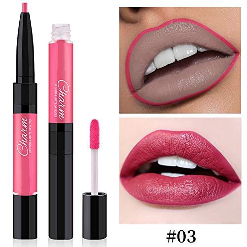 Homeofying Doppelseitiger Lipgloss Glaze Liner Wasserdichter langlebiger Matte Make-up Lippenstift...