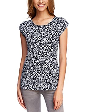 oodji Collection Donna T-Shirt Stampata con Scollo Ampio