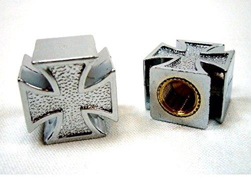 Preisvergleich Produktbild Paar Ventilkappen; Kreuz von Malta PVC Chrom Motorrad Auto