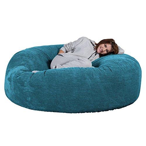 Lounge Pug, 'Mega-Mammoth' Sofa Sitzsack XXL, Schlafsofa, Pom-Pom Türkis