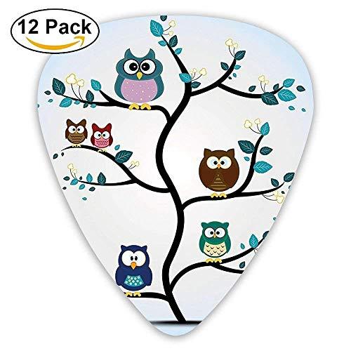 Gitarrenplektren mit Eulenfamilie auf einem Baum (englischsprachig), 12 Stück
