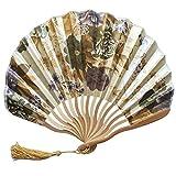 NEEKY Ventilateurs Pliables Portatif Fans De Bambou avec Gland De Femmes Ventilateur en Bambou Se Tenir La Main pour Décoration Murale, Cadeaux