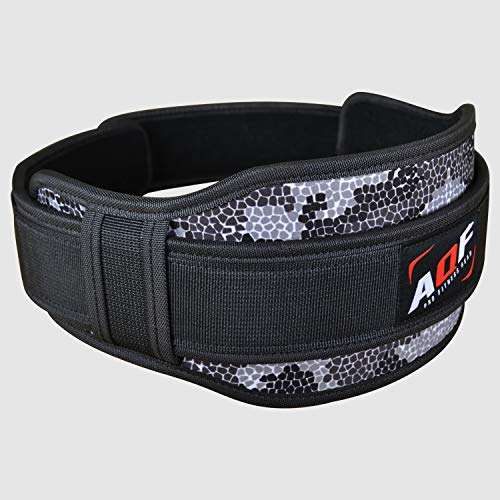 AQF-Weight-Lifting-Belt-Back-Support-Contoured-55-Inch-Neoprene-Back-Core-Lumbar-Support-for-Bodybuilding-CrossFit-Powerlifting-Squats-Deadlifts-Strength-Training-Exercise-Gray-Camo-Large-35-41