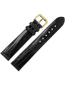 Uhrenarmband 18mm Leder schwarz - Echt Teju - Ersatzarmband für Uhren - ohne Naht - schwarz / gold - Uhrenarmbänder...