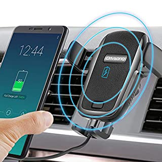 Drivsong Wireless Car Charger Mount, Auto-Clamping 7.5W / 10W Qi Wireless Fast Charge Car Holder for iPhone Xs/Xs Max/XR/X / 8/8 Plus, Samsung Galaxy Note 9 / S9 / S9+ / S8 / S7