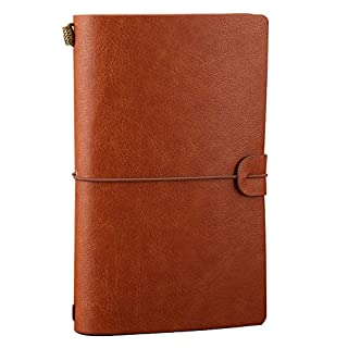 Leather Journal, Alohha Tasks Vintage Handmade Refillable Traveler's Notebook Notepad Diary Gift for Men Women Students, Brown