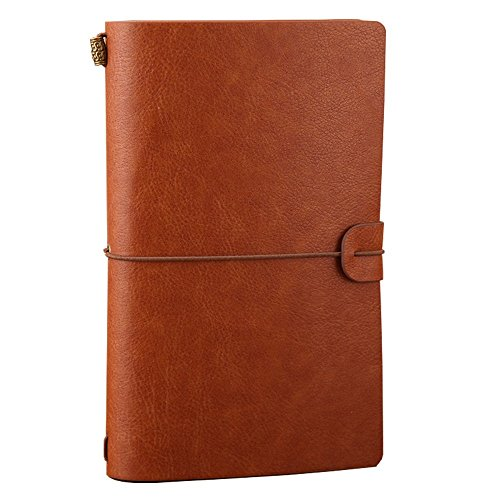 Leather Journal, Alohha Tasks Vintage Handmade Refillable Traveler's Notebook Notepad Diary Gift for Men Women Students, Brown