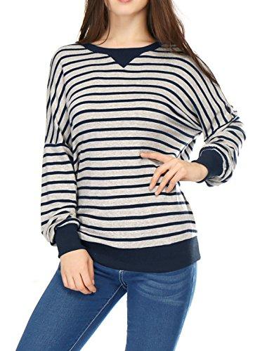 Femme ChutéÉpaule En Vrac À Rayures Sweatshirt Light Gray