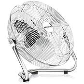 Brandson Windmaschine / Retro-Stil Ventilator in Chrom | Standventilator 35cm | Tischventilator / Bodenventilator | hoher Luftdurchsatz | robuster Stand | stufenlos neigbarer Ventilatorkopf | stabiles Schutzgitter| inkl. Tragegriff | relativ leises Betrie