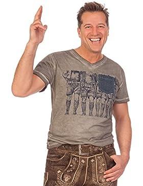 Trachten Herren Shirt - WADERL - grau, Größe S