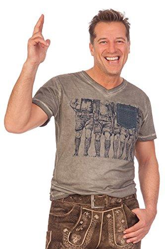 Krüger Dirndl Trachten Herren Shirt - WADERL - Grau, Größe XL