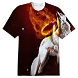 Snoogg White Wolf Mens Casual All Over Printed T Shirts Tees