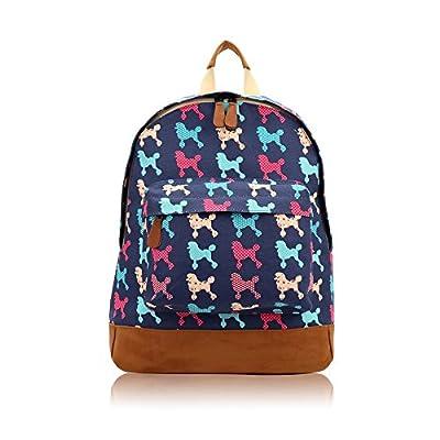 Coloured Poodle Canvas Rucksack Backpack