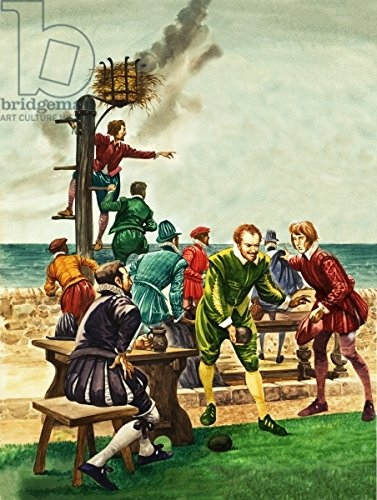 "Poster-Bild 40 x 50 cm: ""The Great Armada: Playing Bowls"", Bild auf Poster"