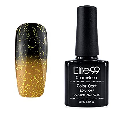 Elite99 Thermal Temperature Change Color Soak Off UV LED Gel Nail Polish 10ML Glitter Olive, Glitter Goldenrod (9045)