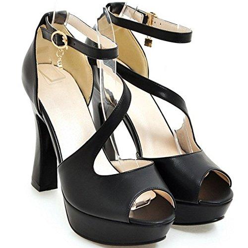 COOLCEPT Femmes Mode Sangle de Cheville Sandales Peep Toe Plateforme Bloc Chaussures Noir