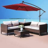 COSTWAY 3M Outdoor LED Parasol Solar Sun Shade Garden Patio Banana Cantilever Hanging