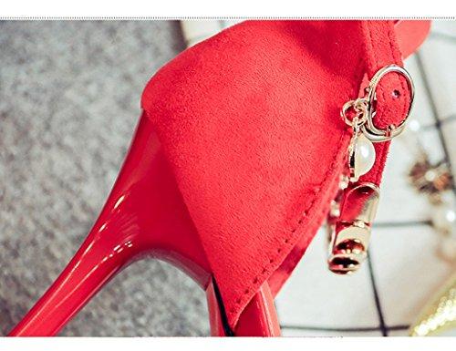 HWF Chaussures femme Sandales Femme Seule Mince Pointue Demoiselle Dhonneur Haute Talons Nubuck Cuir Rouge Seule Femme Chaussures ( Couleur : Rouge , taille : 36 ) Rouge