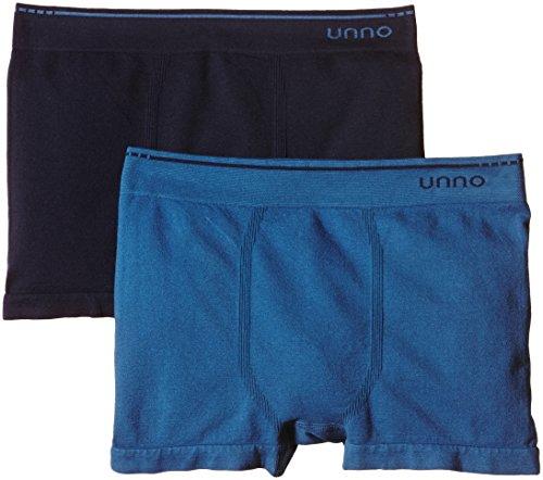 Unno Herren Briefs UNNO BOXER sin costuras algodón para hombre - Pack x2 Marineblau/Blau